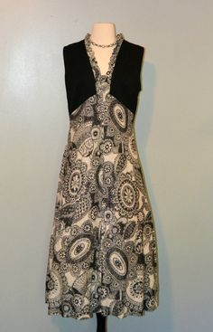 1970s Black and White Paisley Maxi Dress by KrisVintageClothing, $24.99