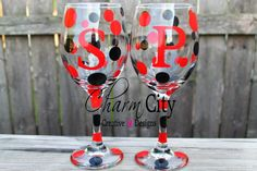 Personalized Wine Glasses 20 oz wedding military by ahindle78, $10.00