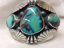 Carl Begay Old Navajo Rare High Grade Turquoise & Sterling Silver Cuff Bracelet