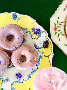 blackberry donuts with lavender glaze