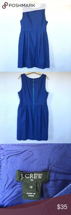 """J. Crew Factory Pleated Shift Dress J. Crew Factory Pleated shift dress in """"Casablanca blue"""". Pockets and a zip on the back. Yes, that is correct, POCKETS! This item is 100% cotton and feels very sturdy. J. Crew Factory Dresses"""