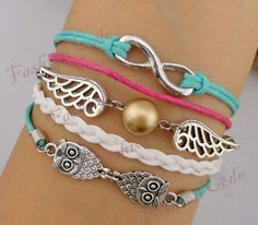 Bracelet - Infinity, Wings & Owls Charm Bracelet - Harry Potter Inspired Bracelet-Best Gift. $7.99, via Etsy.
