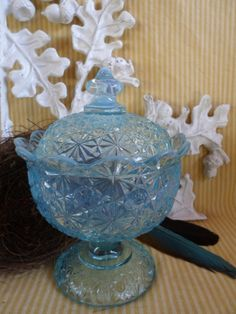 96cbdaf5b8d5 Fenton Blue Opalescent Daisy   Button covered GLASS CANDY Dish BOWL