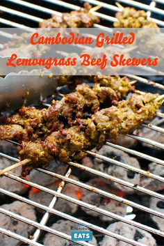 A Cambodian paste of aromatics and spices gives great flavor to these grilled beef skewers. Barbecue Recipes, Grilling Recipes, Beef Recipes, Cooking Recipes, Tailgating Recipes, Barbecue Sauce, Beef Kabob Marinade, Beef Skewers, Kebabs