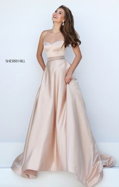 Champagne color long prom dress