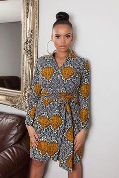 African Print Rundi Midi Dress #traditionalafricanfashion