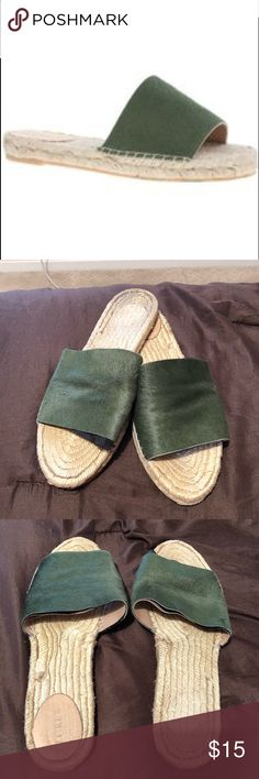 JCREW OLIVE GREEN CALF HAIR FLAT SLIDE SANDALS 🌼 JCrew flat Valencia sandals. Perfect for summer. Definitely worn with love - you can see the black peeking out in the photos, but look great on. Offering at extremely discounted price. Size 11. Willing to negotiate J. Crew Shoes Espadrilles