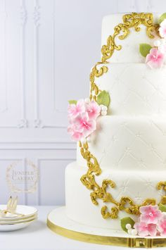 Pretty cherry blossom wedding cake by Juniper Cakery