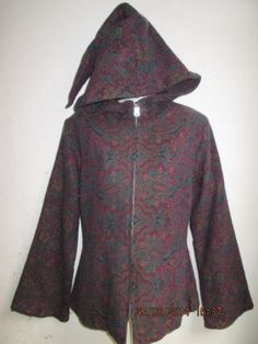Damen-Jacke-Elfen-Gr-M-lange-Kaputze-Goa-Hippie-Alternativ-Mittelalter-lila