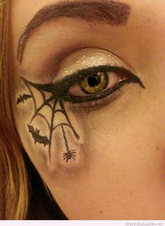 Awesome spider and bat eye makeup for Halloween