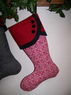 SALE Christmas Stocking Red and Black Up cycled by civilwarlady