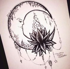 Crescent moon and lotus flower with an extravagant bohemian like design. Defiantly getting this. Beautiful art/tattoo.