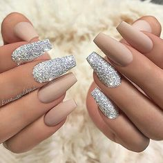 Matte nude and silver glitter nails #GlitterNails