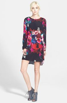 Free shipping and returns on Wayf Long Sleeve Crepe Shift Dress at Nordstrom.com. Move and sway in this fluid crepe shift dress finished with a shirttail hem.