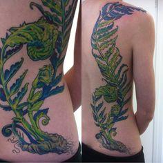 by Nadine @ Metamorphosis Winnipeg, MB Dad Tattoos, Body Art Tattoos, Tatoos, Wing Tattoos, Tattoo Art, Fern Tattoo, Plant Tattoo, In Memory Of Dad, Nature Tattoos