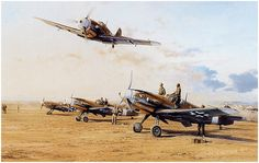 Hans-Joachim Marseille, flying his Me109 with JG-27, returns to his North African desert base following his 100th. victory