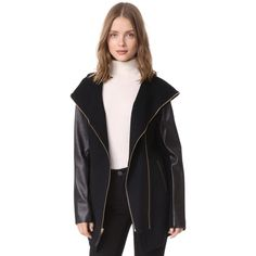 Mackage Fae Wool Coat (1.990 RON) ❤ liked on Polyvore featuring outerwear, coats, black, mackage, leather-sleeve coats, leather sleeve wool coat, hooded wool coats and woolen coat