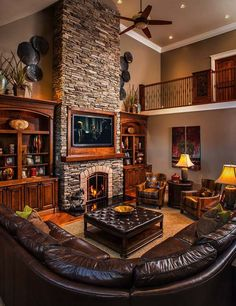 19 Stunning Rustic Living Rooms With Charming Stone Fireplace. 19 Stunning Rustic Living Rooms With Charming Stone Fireplace. Home Fireplace, Living Room With Fireplace, Cozy Living Rooms, Fireplace Design, Fireplace Ideas, Fireplace Stone, Rustic Fireplaces, Brown Living Rooms, Living Area