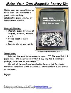 Magnetic Poetry Kit You Will Need Paper And A Cookie Sheet Print
