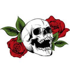 Skull And Rose Drawing, Rose Drawing Simple, Drawing Flowers, Tatuaje Harley Quinn, Rosas Vector, Simple Skull, Flower Skull, Flower Outline, Skull Illustration