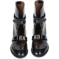 Acne Studios Petra Boots (£125) ❤ liked on Polyvore featuring shoes, boots, black boots, chaussures, low black boots, leather shoes, black leather boots, leather buckle boots and low leather boots