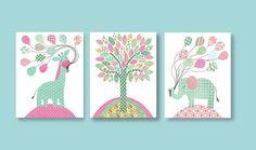 Popular items for aqua pink nursery on Etsy