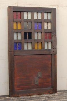 カラフル色ガラスの升格子蔵戸 W336