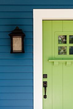 The custom Craftsman-style door of our 2016 Idea House at Cloudland Station sports beefy dentils and a coat of lime green paint. Green Exterior Paints, House Paint Exterior, Exterior Paint Colors, Exterior House Colors, Paint Colors For Home, Exterior Design, Craftsman Style Doors, Craftsman Exterior, Modern Farmhouse Exterior