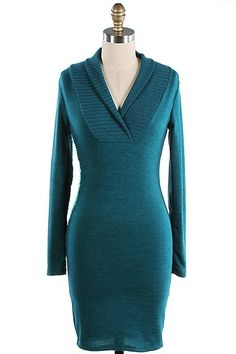 $14.00 Sweater Dress Shawl Neck Teal - Kelly Brett Boutique