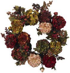 Nearly Natural Autumn Hydrangea Peony Wreath