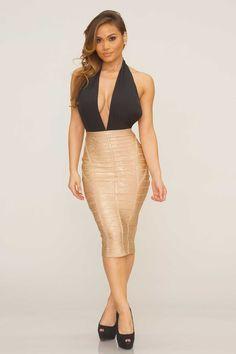 Vanessa Bandage Skirt -  Gold