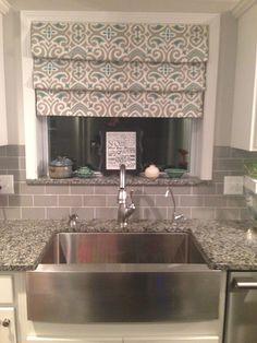 30 Trendy kitchen window over sink curtains roman shades tension rods Window Over Sink, Kitchen Sink Window, Kitchen Window Curtains, Kitchen Valances, Kitchen Blinds, Kitchen Windows, Room Window, Kitchen Cupboards, Kitchen Backsplash