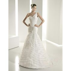 A-line One Shoulder Chapel Train Fit and Flare Organza White Wedding Dress with Ruffles