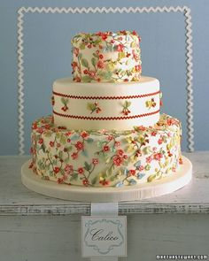 Cakes Inspired by Fabric: Calico  Beautiful textiles are a rich source of inspiration for wedding cakes