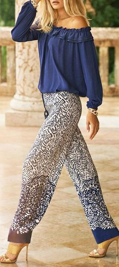 Off the shoulder shirt with patterned trousers http://www.justaprettystyle.com/2016/07/womens-fashion-off-shoulder-shirt-with.html