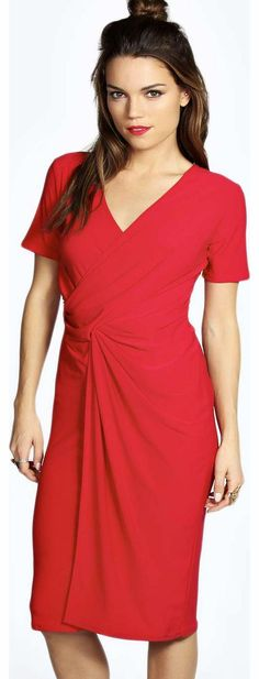 4f0f3c07b22 boohoo Lauren Draped Slinky Dress - red azz15876 Look knock-out on nights  out in