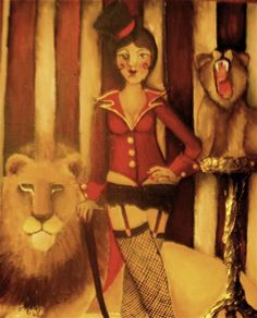 """First in my carnival series. Lion Tamer 8""""x10"""" acrylic"""