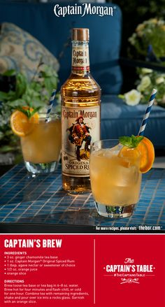 Captain's Brew combines Chamomile Tea with Captain Morgan Original Spiced Rum. Tea Cocktails, Bar Drinks, Yummy Drinks, Cocktail Recipes, Refreshing Drinks, Beverages, Yummy Food, Rum Recipes, Shot Recipes