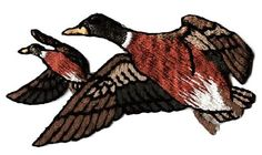 "[Single Count] Custom and Unique ( 2 1/2 x 1 1/2"") Original Two Flying Ducks Seasonal Migrating Patch Iron On Embroidered Applique Patch {Green, Tan, Red, White & Brown Colored}"
