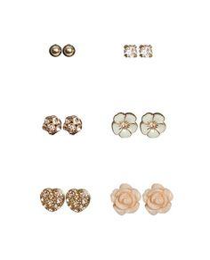 6 Glitter Flower Earring Set - Teen Clothing by Wet Seal