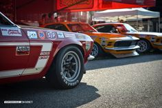 The #16 Follmer Ford rolls past the even more recognizable School Bus Yellow 1970 BOSS Mustangs.  These uncorked, high revving 302 motors were reportedly putting out close to 470 horsepower in their day.
