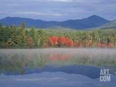 Fall Reflections in Chocorua Lake, White Mountains, New Hampshire, USA Photographic Print by Jerry & Marcy Monkman at Art.com