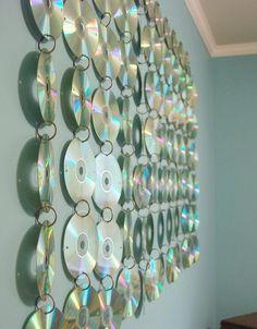cd's, diy, rainbow, music, wall hanging, decor, teens, teen, teen room, handmade, homemade, cool, fun, mirror