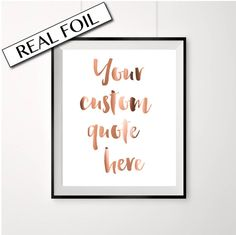 Real Copper Foil Print YOUR CUSTOM QUOTE door PeppaPennyPrints