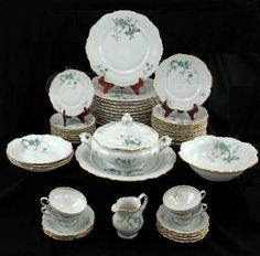 Vintage Royal Heidelberg Winterling- Bavaria Germany 49-piece china set features a Green Ming floral pattern,