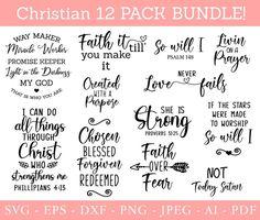 Christian Bundle SVG Scripture Bundle Instant Download   Etsy Bible Quotes, Bible Verses, Design Quotes, Svg Files For Cricut, Decoration, Digital Scrapbooking, Clip Art, Faith, Paper Embroidery