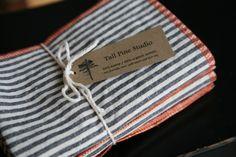 8 Organic Stripe Napkins