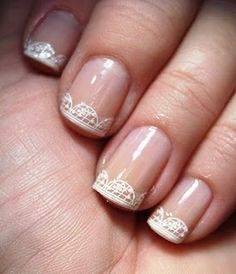 Subtle lace nail tips for a #bridal #manicure.