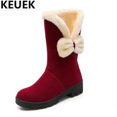 9464e98cd42 NEW Winter Children Shoes Butterfly-knot With Plush Boots Kids Girls  Mid-Calf Snow