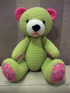 Crochet bear toy green color
